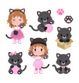 cute little baby girl in cat costume and vector image