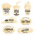 fast food sketch icons and promo signs vector image vector image