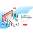 flat isometric concept of online survey vector image vector image