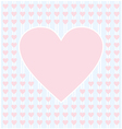 Frame border shaped from pink heart on light blue vector image vector image