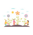 garden with flowers gardeners growing vector image vector image