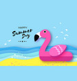 giant inflatable pink flamingo in paper cut style vector image vector image