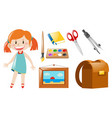 girl and school objects vector image