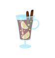 glass mug of mulled wine with cinnamon sticks vector image vector image