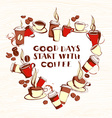 Grungy hand drawn heart shape ink coffee to go vector image