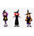 halloween of three young witch girls isolated on vector image vector image