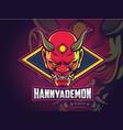 hannya demon face esports logo design vector image vector image