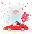 happy young woman in a car with red heart air vector image