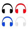 headphones earphones icon set black red blue gray vector image vector image