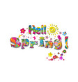 hello spring rainbow lettering isolated on white vector image
