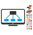 hierarchy monitor icon with lovely bonus vector image vector image
