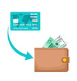 icon receiving cash from a payment card money vector image