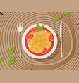 italian pasta on a plate vector image vector image