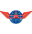 Jumbo Jet Plane Front Wings Globe vector image vector image