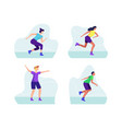 man and woman on roller skates riding vector image