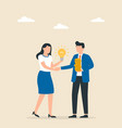 man and woman shaking hands with successful deals vector image