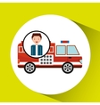 man cartoon firetruck icon graphic vector image vector image