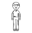 monochrome young man avatar character vector image