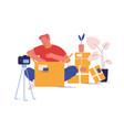 online parcel unpacking concept blogger vlogger vector image