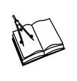 open book school compass geometry utensil vector image