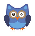 owl funny stylized icon symbol blue colors vector image vector image