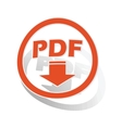 PDF download sign sticker orange vector image vector image