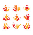 People union logo set abstract family icon