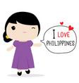 philippines women national dress cartoon vector image vector image