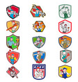 plumber mascot crest cartoon set vector image vector image