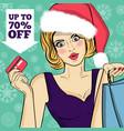 poster with pop art santa girl vector image vector image