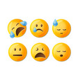 sad emoticons set in yellow with facial vector image