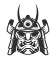 samurai warrior helmet isolated on white vector image vector image
