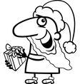 santa with present coloring page vector image vector image