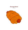 sausage baked in dough hand draw sketch vector image