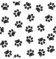 seamless pattern with doodle dog and cat paws vector image vector image