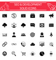 seo and development solid icon set vector image vector image