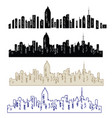 set cities silhouette vector image vector image
