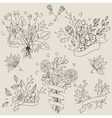 set hand drawn cute floral bouquets retro vector image vector image