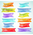 Set watercolor ribbons crayon vector image