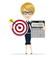 Successful business woman- teacher showing a vector image