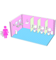 Toilet interior for female with 3d facilities vector image vector image