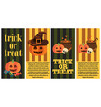 trick or treat postcard halloween congratulation vector image vector image