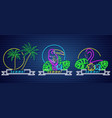 tropic neon icons set palm trees parrot and vector image vector image