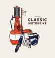 vintage motorbike hand draw sketch vector image vector image