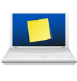 yellow sticky note at laptop screen vector image vector image