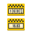 yellow taximeter icon set flat style vector image vector image