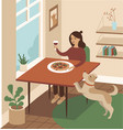 young girl enjoying pizza at home vector image