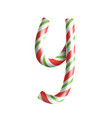 letter y 3d realistic candy cane alphabet vector image