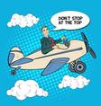 pop art business man riding airplane vector image