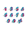 0 1 2 3 4 5 6 7 8 9 isometric 3d numeral vector image vector image